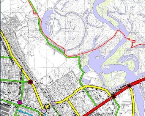 в новом генплане в этом районе намечено строительство дорог
