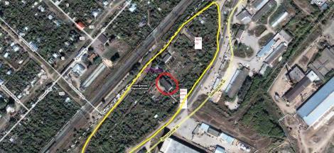 желтым выделен жилая зона между Киркомбинатом и Заводским шоссе, красным дом №16