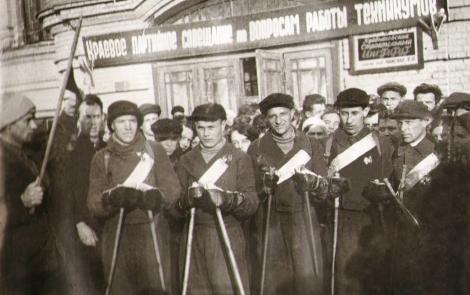 1930 гг. участники лыжного пробега строительного института к А. Микояну