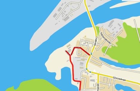 красным выделены дороги к месту куда перенесут порт