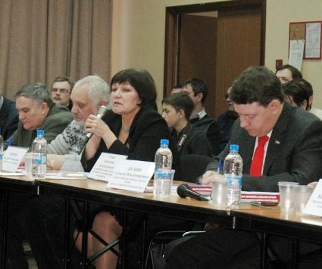 слева - направо: Валерий Карлов, Владимир Нехорошев, профессор Наталья Боброва, депутат Алексей Лескин
