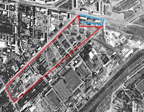 1966 год  застроена была зона отмеченная красным, синим отмечены - хрущевки на Гагарина