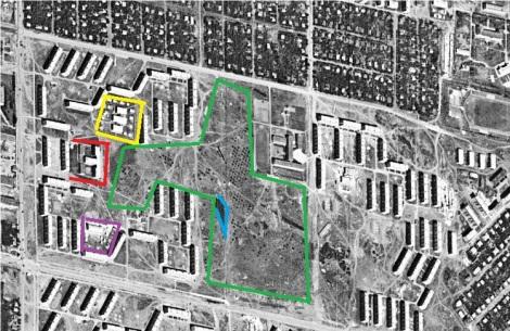 зеленым обведены Черновские сады, желтым - детсад 290, красным - школа 170, синим - Черновские озера, фиолетовым - кадетский корпус