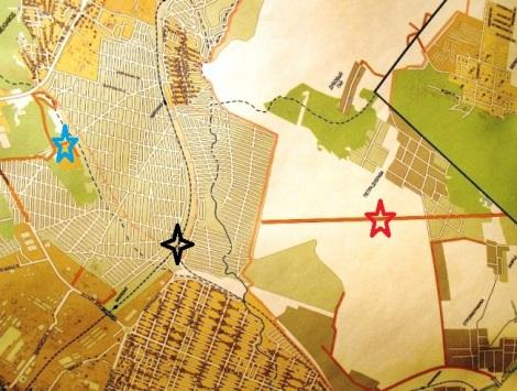 красной пятиконечной звездой отмечен коллектор от Петра Дубрава (он обрывается подходя к дачам), черной четырехугольной - платформа Дачная, синяя звезда - военная часть в лесу на 19 км