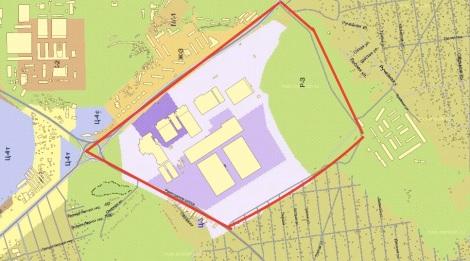 зона проектирования включает большую часть леса на 19 км (выделен зеленым)