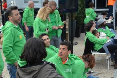 на финише марафона журналисты ждали и своих коллег тоже