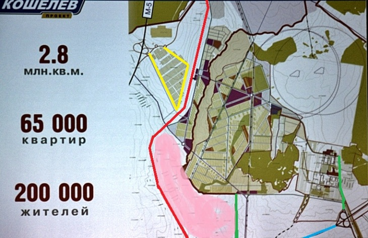 Козелковский выделен розовым цветом, красным - жд, желтым - первые очереди Кошелева, зеленым съезды с поселка на Центральную