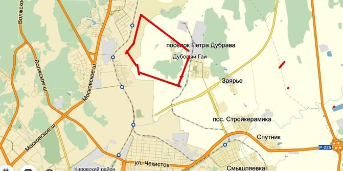 Кошелев строит на землях Смышляевки в Волжском районе, на карте видно где обрывается Центральная магистраль