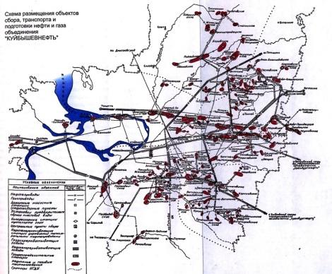карта инфраструктуры Куйбышевнефти
