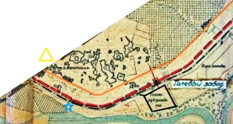 водоканал - оранжевый, красный пунктир - наземное метро 1930 годов, синяя звезда - брошенная водокачка Ростелекома, желтый треугольник - станция водосмягчения