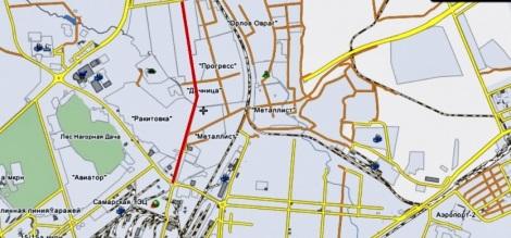 красным - маршрут предполгаемой трассы