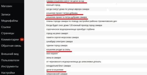 темы запросов на движке, касающиеся Кошелева и дач