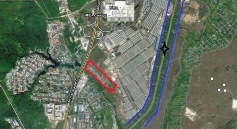 красным отмечен цыганский поселок, синим - дачи, которые будут снесены, звезда - место жд платформы