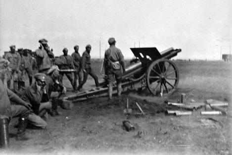 Чешские батареи в бою под Липягами (наверное Кряж расстреливают)